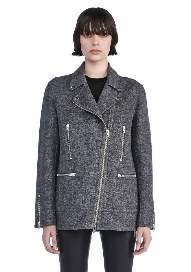 ALEXANDER WANG JACKETS AND OUTERWEAR  Women WOOL MOTO JACKET WITH ASYMMETRIC ZIPPER