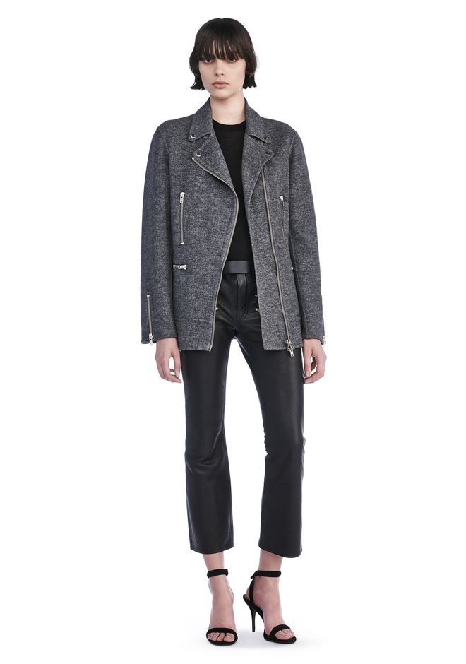 ALEXANDER WANG JACKETS AND OUTERWEAR  WOOL MOTO JACKET WITH ASYMMETRIC ZIPPER