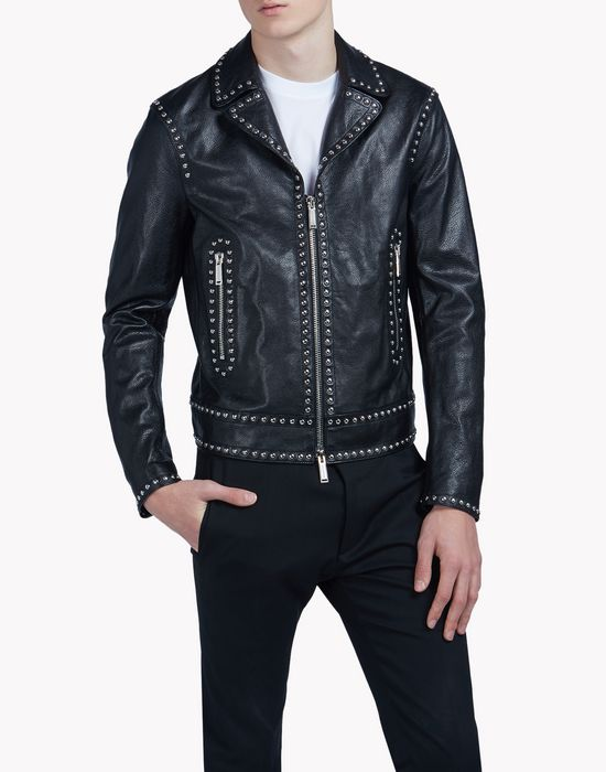 lou leather studded jacket coats & jackets Man Dsquared2