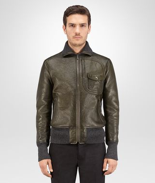 BLOUSON IN DARK SERGEANT LEATHER WITH TWEED WOOL LINING