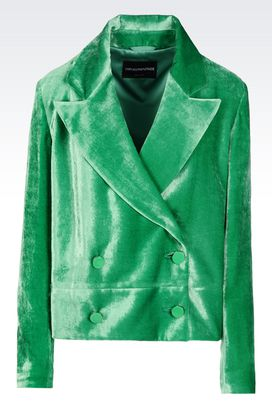 Armani Jackets Women double-breasted runway jacket in velvet