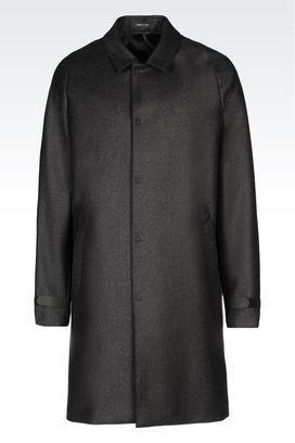 Armani Manteaux Homme manteau en flanelle de laine