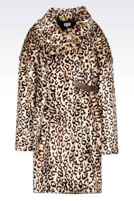 Armani Single-breasted coats Women faux fur with animal design