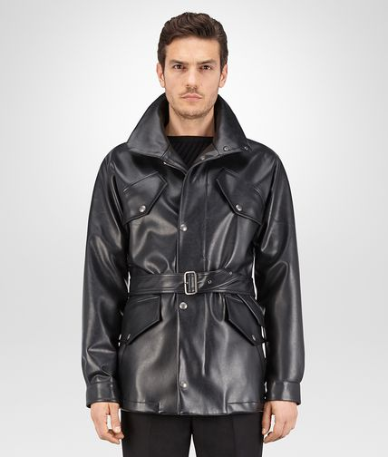 PARKA IN NERO FAUX LEATHER
