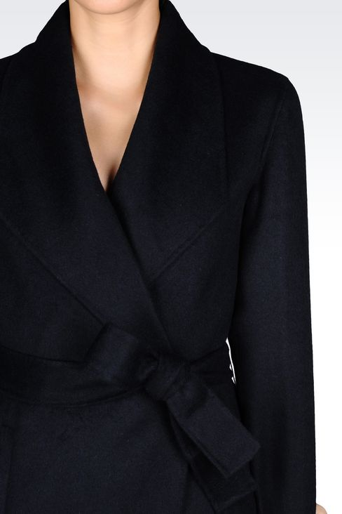 COAT IN WOOL BLEND: Single-breasted coats Women by Armani - 5
