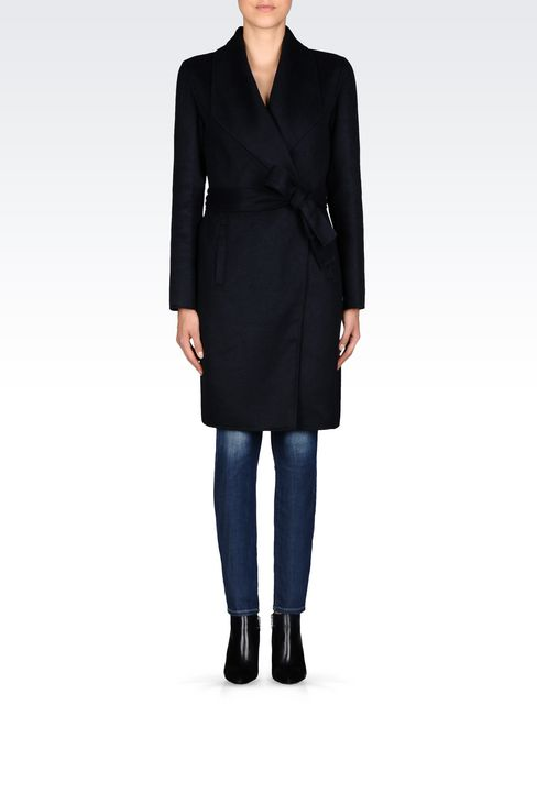 COAT IN WOOL BLEND: Single-breasted coats Women by Armani - 2