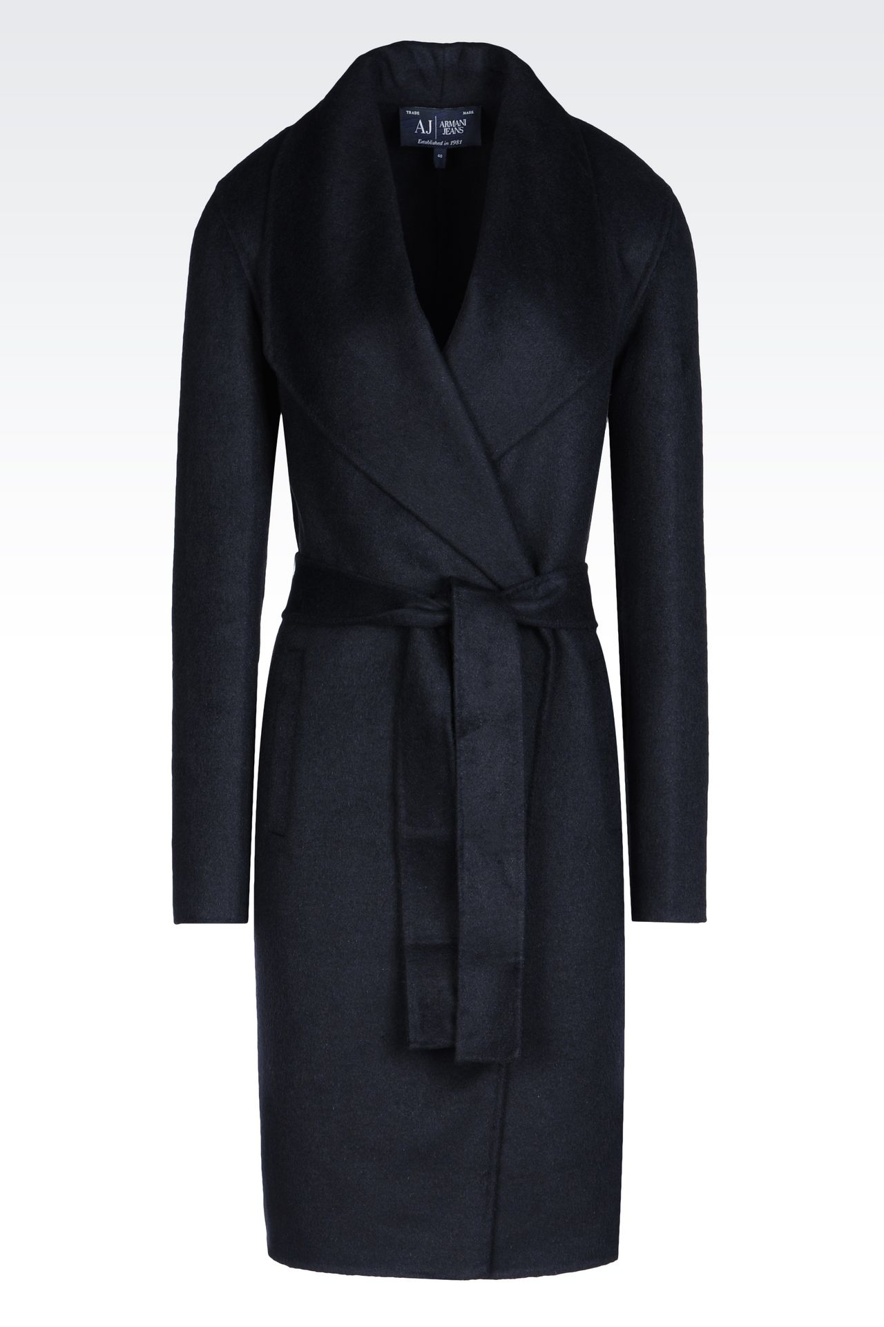 COAT IN WOOL BLEND: Single-breasted coats Women by Armani - 0
