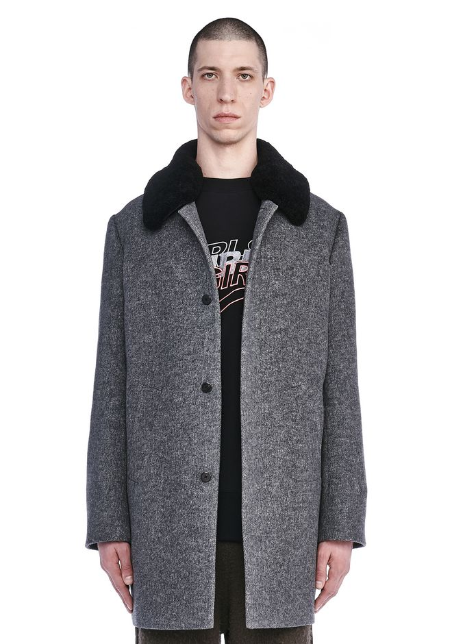 ALEXANDER WANG JACKETS AND OUTERWEAR  Men SHEARLING COLLAR PEACOAT