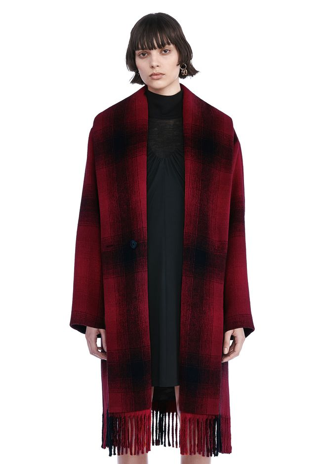 T by ALEXANDER WANG JACKETS AND OUTERWEAR  SHAWL COLLARED WOOL COAT WITH FRINGE HEM