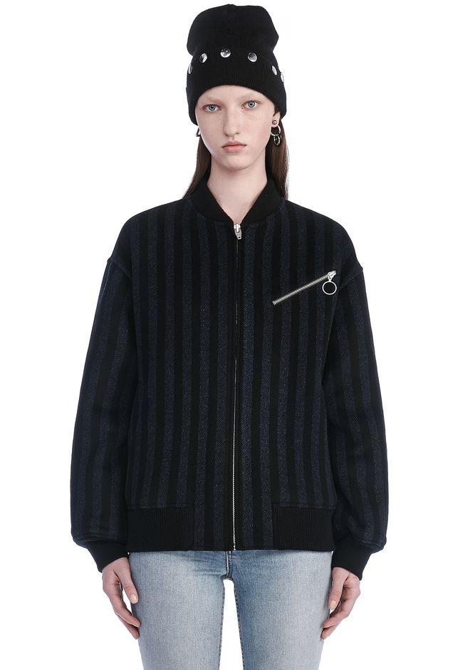 T by ALEXANDER WANG JACKETS AND OUTERWEAR  STRIPED WOOL BOMBER
