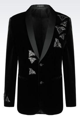 Armani Two button jackets Men runway tuxedo jacket in velvet