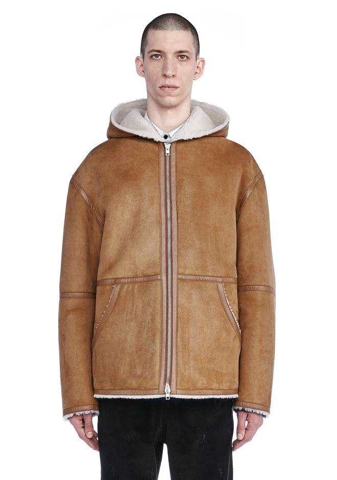 ALEXANDER WANG JACKETS AND OUTERWEAR  Men RUNWAY SHEARLING ZIP-UP HOODED JACKET