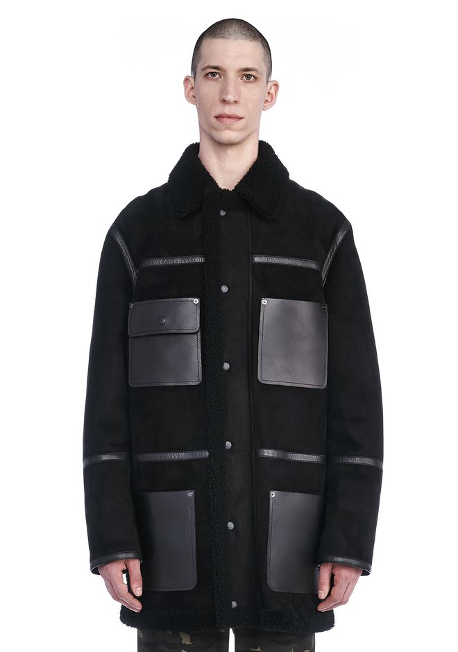 ALEXANDER WANG JACKETS AND OUTERWEAR  Men SHEARLING COLLARED JACKET