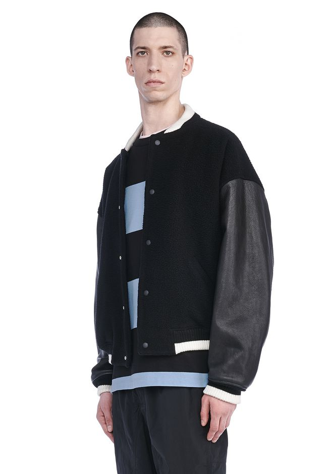 T by ALEXANDER WANG JACKETS AND OUTERWEAR  Men LEATHER TRIMMED LETTERMAN JACKET