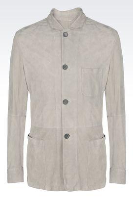 Armani Blazer Uomo giacca monopetto in suede di agnello