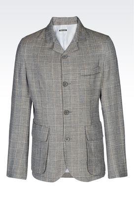 Armani Blazer Uomo giacca monopetto in twill di lana e seta