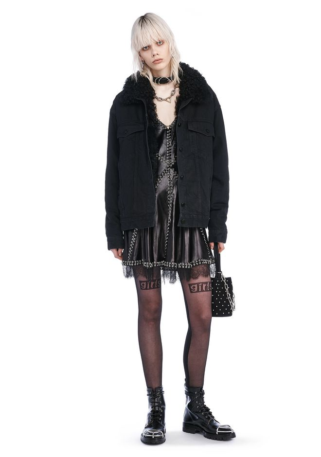 ALEXANDER WANG JACKETS AND OUTERWEAR  BOYFRIEND DENIM JACKET WITH FUR LINING