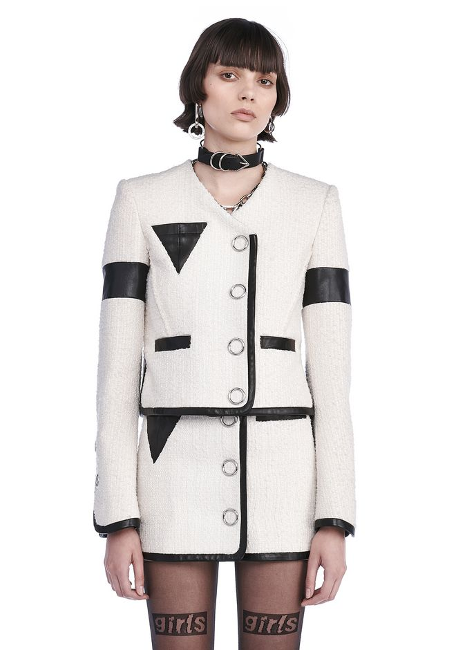 ALEXANDER WANG JACKETS AND OUTERWEAR  Women CROPPED JACKET WITH TRIANGLE CHEST POCKET