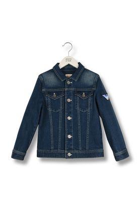 Armani Short-length jackets Men dark wash denim jacket with shoulder logo