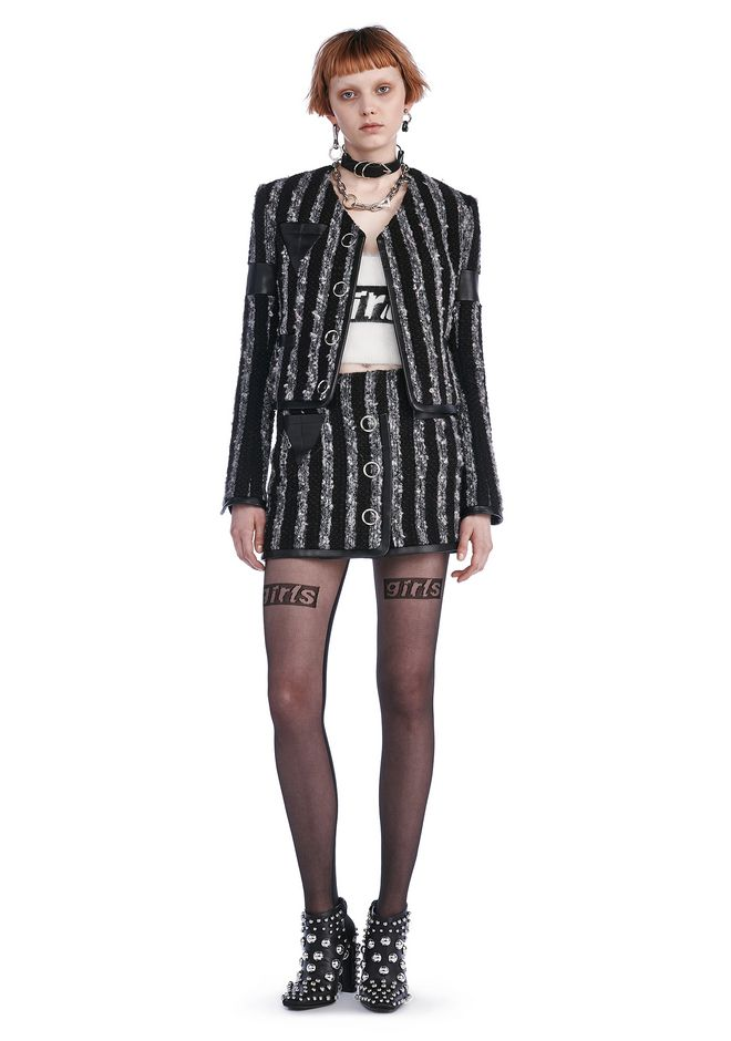 ALEXANDER WANG JACKETS AND OUTERWEAR  CROPPED TWEED JACKET WITH TRIANGLE CHEST POCKET