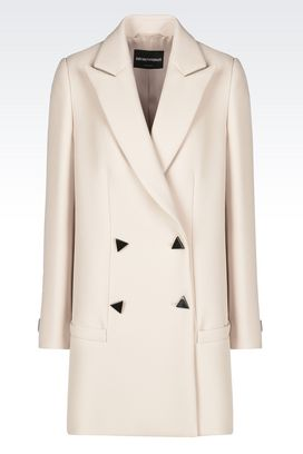 Armani Double-breasted coats Women coat in crêpe