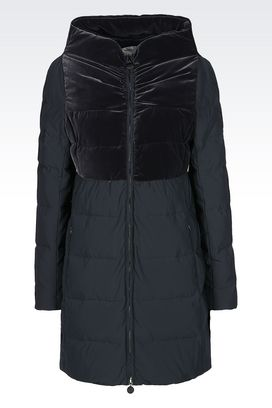 Armani Single-breasted coats Women down jacket in nylon and velvet