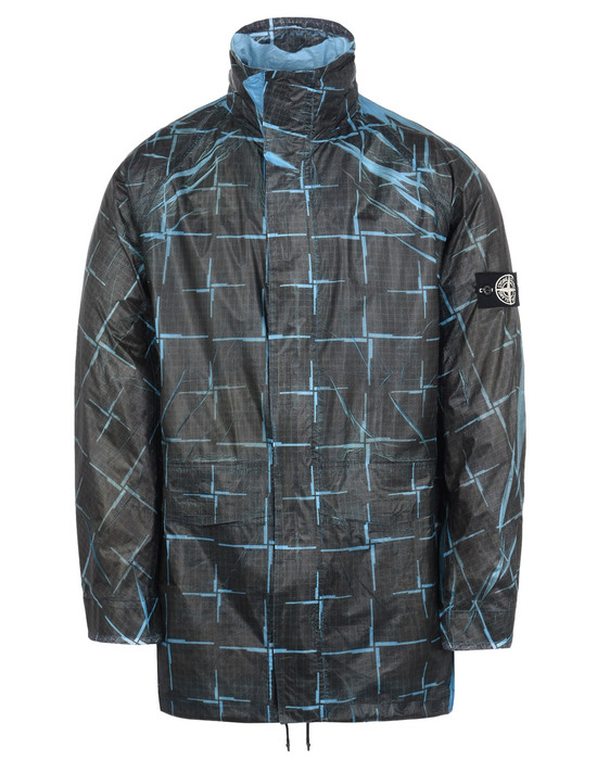 STONE ISLAND Mid-length jacket 452J2 PAPER POLY SI HOUSE CHECK GRID