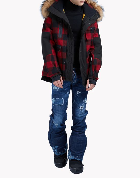 fur-trimmed buffalo check ski parka coats & jackets Man Dsquared2