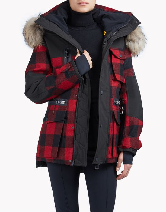 fur-trimmed buffalo check ski parka coats & jackets Woman Dsquared2