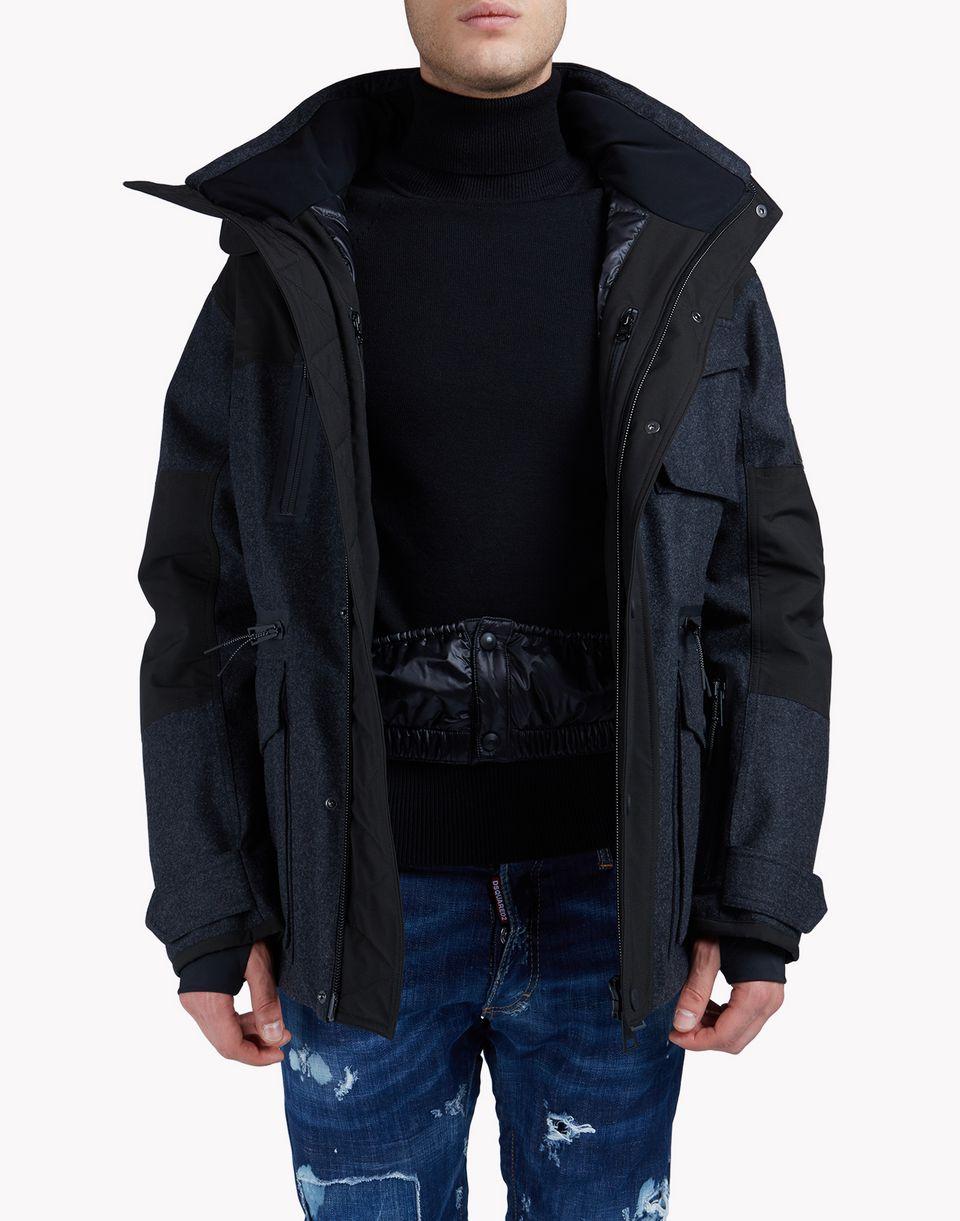 hooded wool-blend multi-pocket ski parka mäntel & jacken Herren Dsquared2