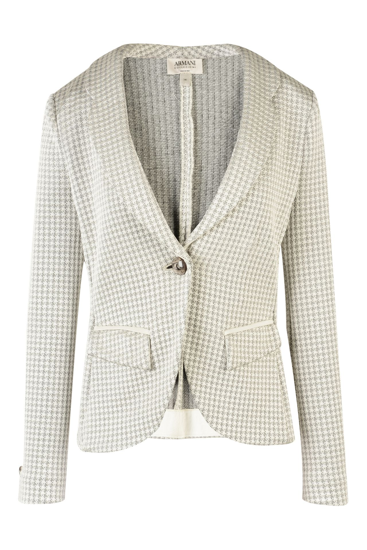 Armani Collezioni Women ONE BUTTON HOUNDSTOOTH JACQUARD JACKET ...