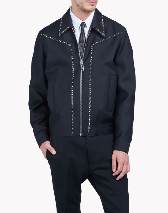 studded wool silk bomber jacket coats & jackets Man Dsquared2
