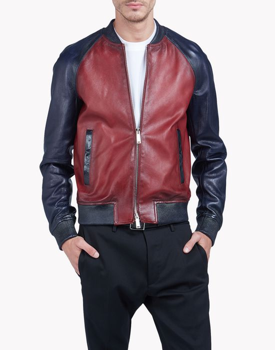 contrasted leather bomber jacket coats & jackets Man Dsquared2