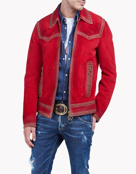 western suede studded jacket coats & jackets Man Dsquared2