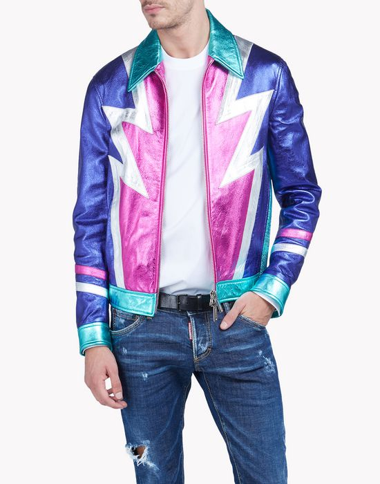 multicolored metallic leather jacket coats & jackets Man Dsquared2