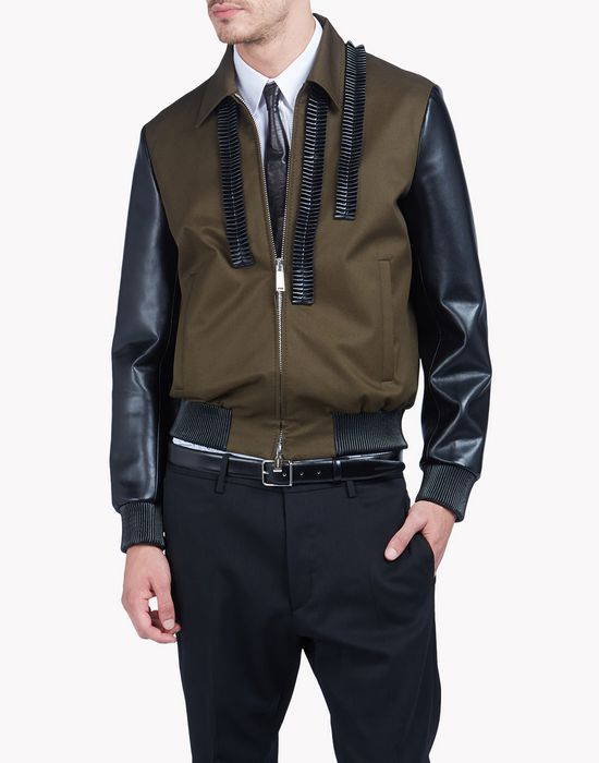 leather ruffle contrasted bomber jacket coats & jackets Man Dsquared2