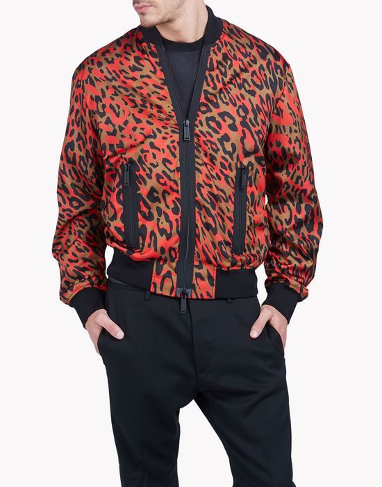 leopard print bomber jacket coats & jackets Man Dsquared2