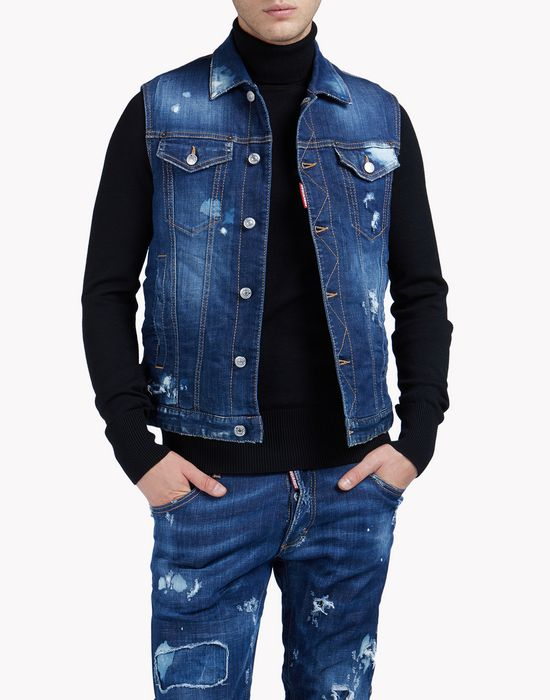technical ski denim vest coats & jackets Man Dsquared2