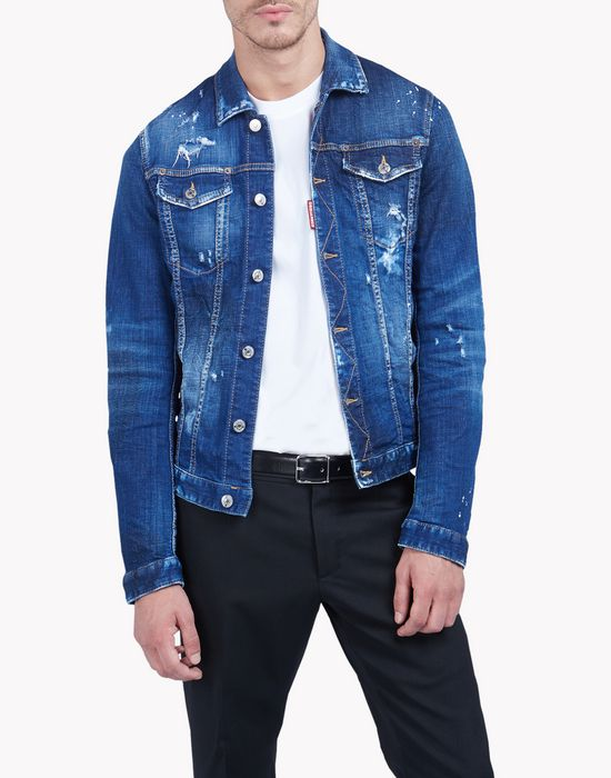 highlighted denim jacket coats & jackets Man Dsquared2