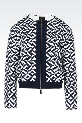 Armani Blouson Donna giacca boxy in tessuto tecnico stretch