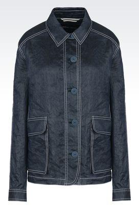 Armani Blazer Donna giacca in raso stropicciato con collo a camicia
