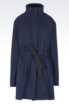 Armani Single-breasted coats Women openwork jacquard coat