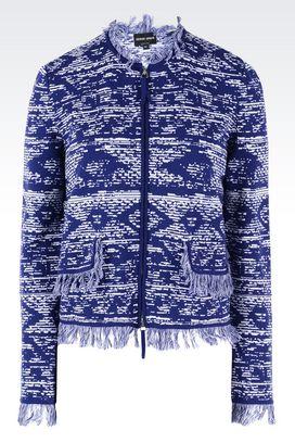 Armani Blazer Donna giacca con zip e frange in leggero ottoman jacquard