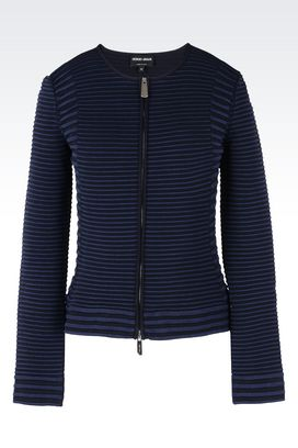Armani Blazers Women ottoman fabric jacket with contrasting trims