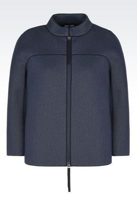 Armani Blazer Donna giacca in jersey di cotone con collo alla coreana