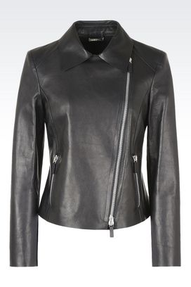 Armani Blouson Donna giacca in pelle modello biker