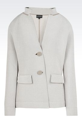 Armani Two button jackets Women jacquard jacket with lapel collar