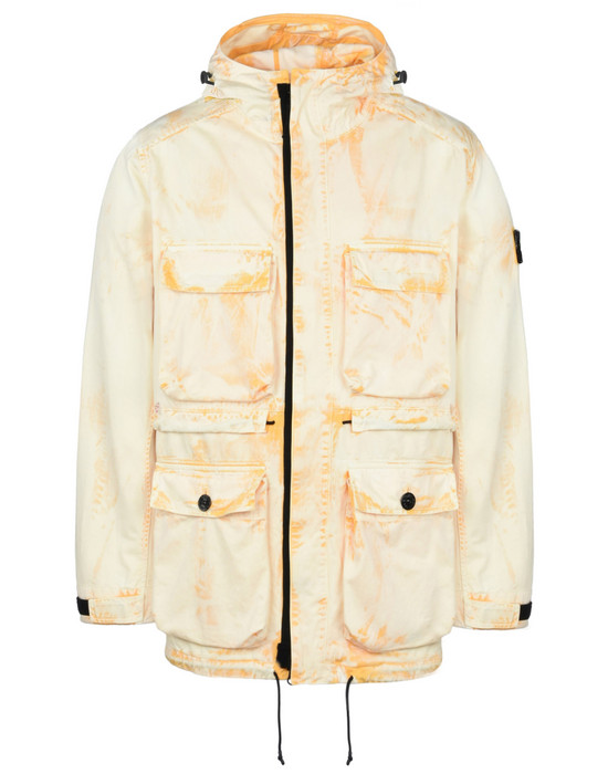 STONE ISLAND Mid-length jacket 45131 HAND CORROSION ON RASO