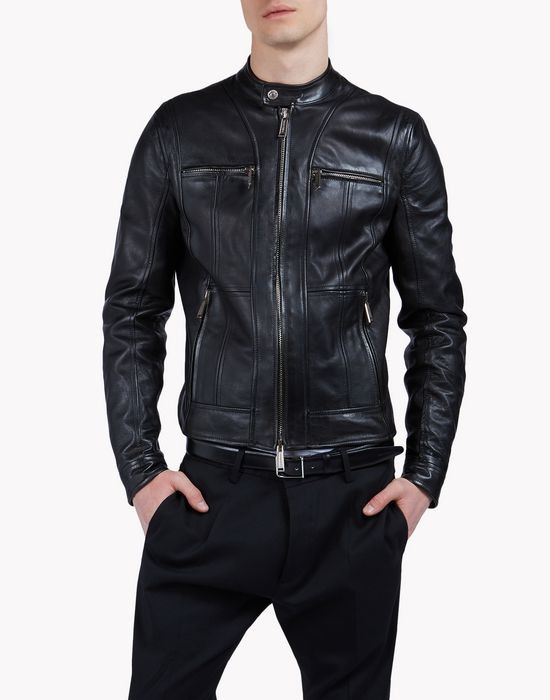 leather mandarin jacket coats & jackets Man Dsquared2