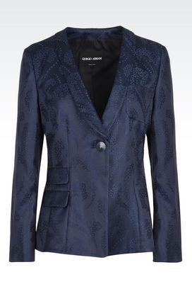 Armani Blazer Donna giacca monopetto in jacquard di cotone e seta